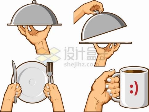 西餐托盘刀叉盘子和咖啡杯等餐具png图片免抠矢量素材
