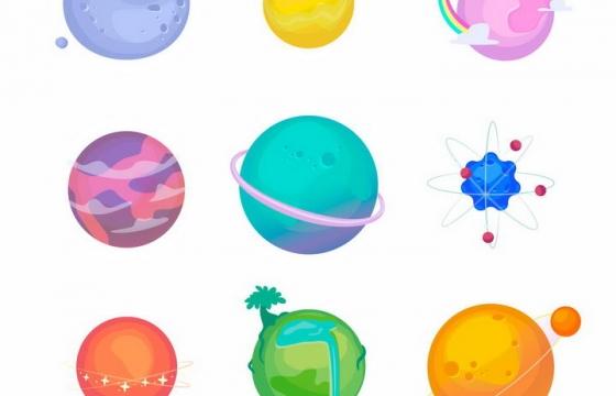 9款卡通风格小行星地球等外星球png图片免抠矢量素材