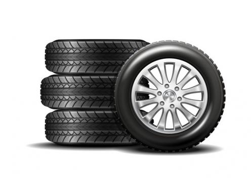 堆放在一起的四个汽车轮胎图片免抠素材