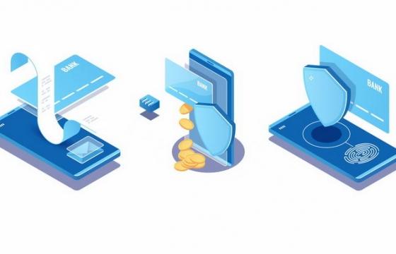 2.5D风格电子账单电子支付和电子支付安全png图片免抠矢量素材