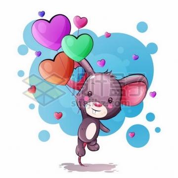 可爱的卡通小老鼠拿着心形气球起飞了png图片素材