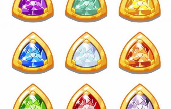 9款游戏中镶着水晶的三角形包金宝石png图片免抠矢量素材