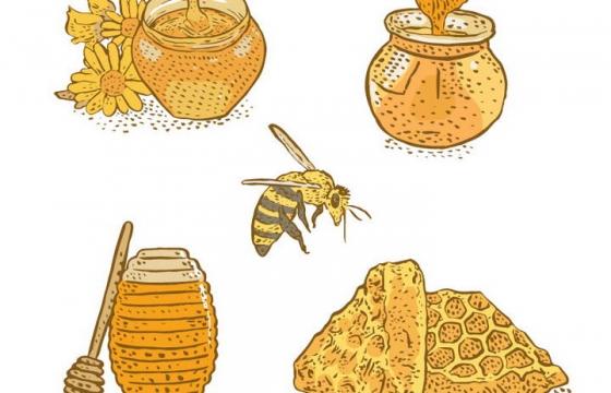 手绘风格的蜂蜜罐和蜂蜜棒免抠矢量图片素材