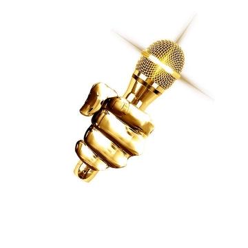 金色的手拿着话筒麦克风图片免抠素材
