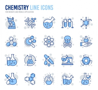 20款蓝色线性化学科学研究线条icon图标图片免抠素材