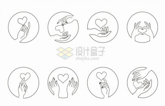 8款优雅的线条手指和心形图案png图片素材