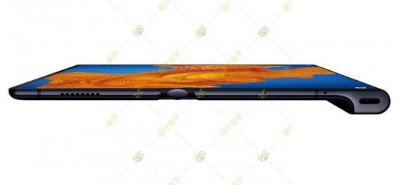 展开状态的华为Mate Xs折叠屏手机侧视图png图片免抠素材