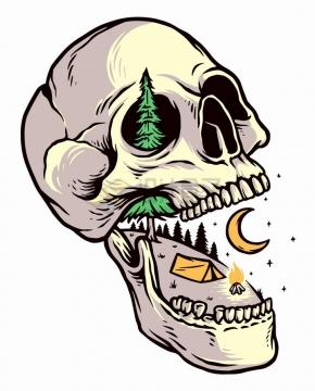 骷髅头组成的高山大树抽象风景手绘插画png图片免抠矢量素材
