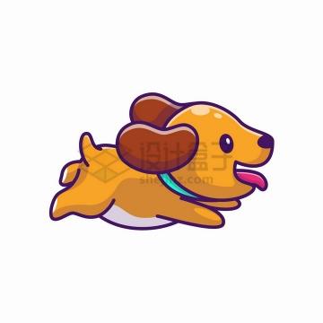 开心快乐奔跑的卡通狗狗png图片免抠矢量素材