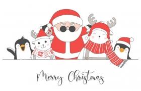 可爱的卡通企鹅麋鹿圣诞老人图片免抠矢量图