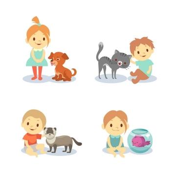 四款卡通可爱儿童和宠物图片免抠素材