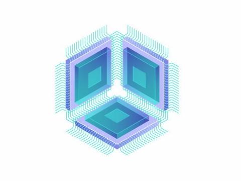 3个连接在一起的集成电路CPU处理器芯片png图片免抠矢量素材