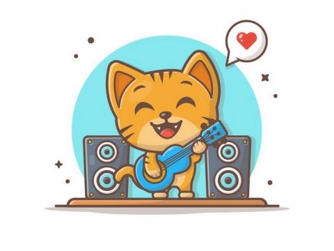MBE风格弹吉他的卡通小猫咪png图片免抠矢量素材