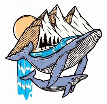 抽象鲸鱼背上的高山和瀑布手绘插画png图片免抠矢量素材