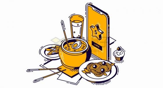 2.5D风格手机外卖订餐五星好评png图片免抠矢量素材