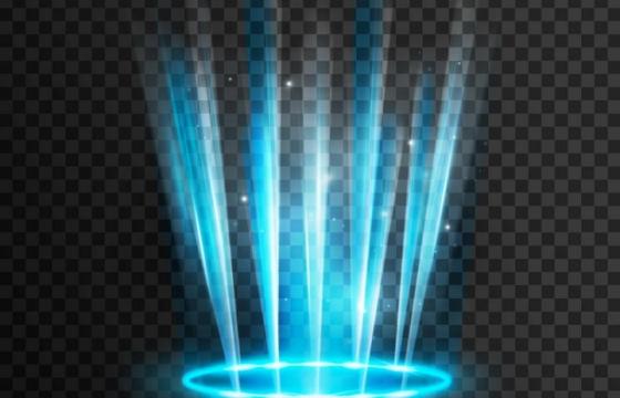 蓝色射灯光芒发光效果图片免抠矢量图素材