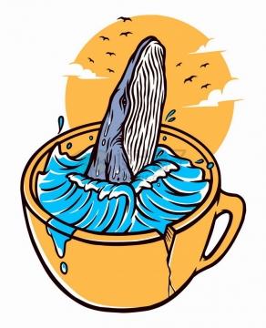 抽象茶杯中的鲸鱼和海水手绘插画png图片免抠矢量素材