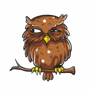 手绘卡通风格站在枝头上的卡通猫头鹰png图片免抠矢量素材