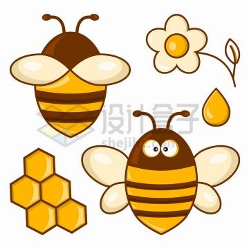 胖胖的卡通小蜜蜂花朵蜂蜜和蜂巢png图片免抠矢量素材