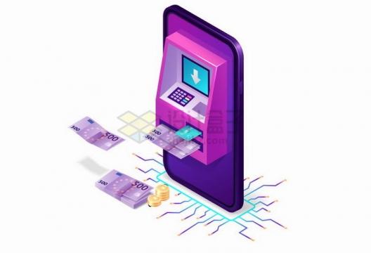 3D风格紫色手机上的ATM机象征了移动支付技术png图片免抠矢量素材
