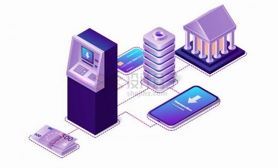 3D风格ATM机手机服务器银行卡和银行连接象征了移动支付技术png图片免抠矢量素材