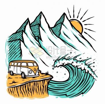 旅游车和高山海浪太阳风景手绘插画png图片免抠矢量素材