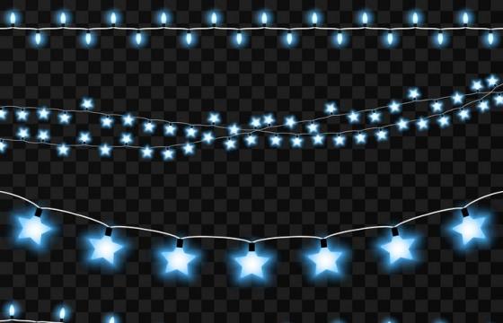 各种形状的蓝色发光小灯泡装饰带图片免抠素材