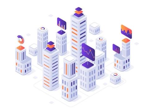 2.5D立体风格智慧城市建筑图片免抠矢量图