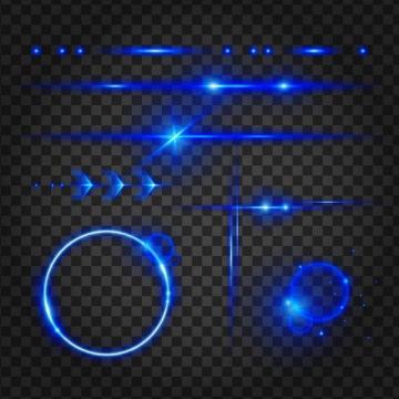 多款蓝色发光光线和发光圆圈效果图片免抠矢量图素材