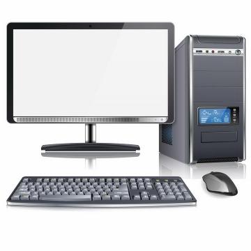 逼真的台式机电脑主机显示器键盘和鼠标等电脑配件png图片免抠矢量素材