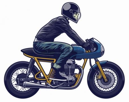 戴头盔的骷髅头骑摩托车卡通漫画插画png图片素材