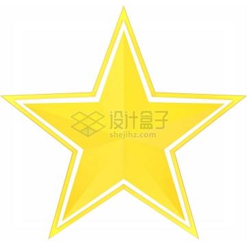 黄色的五角星白色线条装饰png图片免抠素材