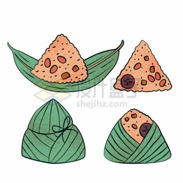 端午节4款手绘卡通粽子530527png图片素材