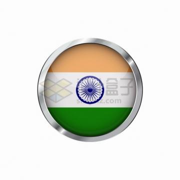 银色金属光泽边框和印度国旗图案圆形水晶按钮png图片素材