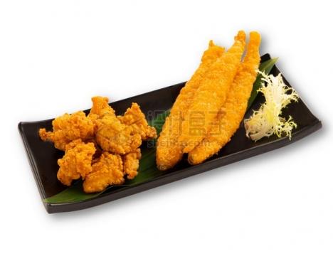 炸鸡块和多春鱼日式料理png图片素材