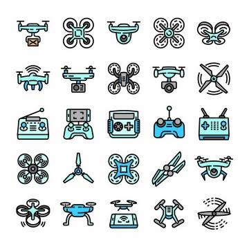 25款蓝色断点风格无人机图标png图片免抠矢量素材