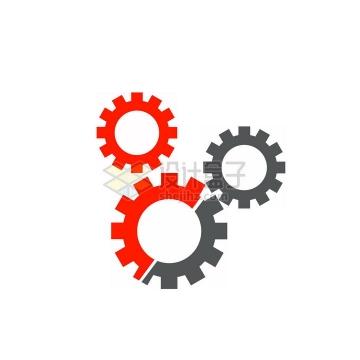 红色和灰色齿轮png图片免抠素材