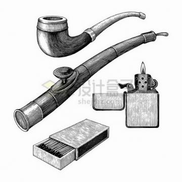 烟斗火柴盒打火机抽烟工具手绘素描插画png图片免抠矢量素材