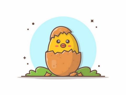 MBE风格卡通出壳的小黄鸡png图片免抠矢量素材