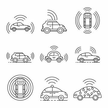 9款断点线条风格无人驾驶汽车自动汽车png图片免抠矢量素材