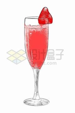 红色手绘高脚杯中的果汁饮料png图片免抠矢量素材