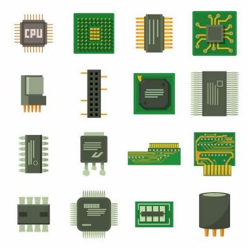 CPU处理器集成电路芯片等电脑配件png图片免抠矢量素材