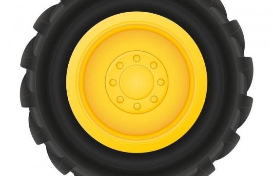 黄色轮毂的拖拉机汽车轮胎免抠矢量图片素材