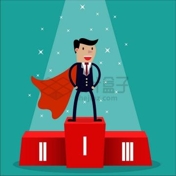 身披红色披风的卡通商务人士获得第一名销售冠军人生赢家png图片免抠矢量素材