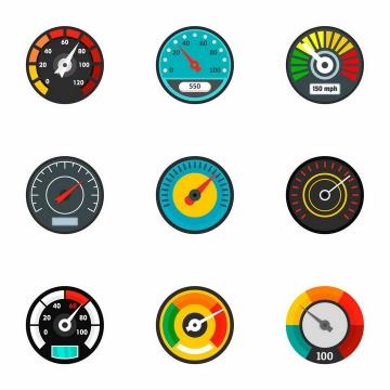 9款汽车仪表盘速度表显示图标png图片免抠矢量素材