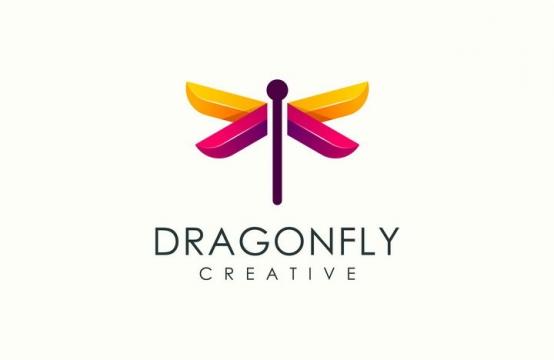 创意蜻蜓logo设计方案图片免抠矢量素材
