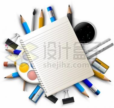 笔记本和下面的铅笔画笔等学习用品475930png图片素材