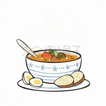 一碗美味的蔬菜汤美味美食彩绘插画png图片素材