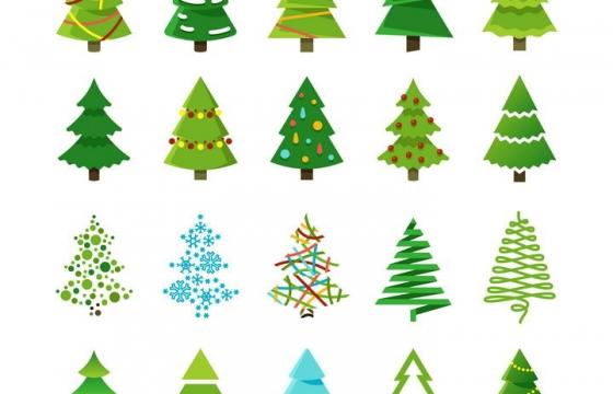 20款各种不同风格的圣诞树图片免抠素材