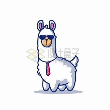 戴墨镜打领带的卡通羊驼png图片免抠矢量素材